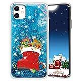 """Misstars Weihnachten Handyhülle für Apple iPhone 12 Mini (5,4""""), 3D Kreativ Glitzer Flüssig Transparent Weich TPU + PC Bumper mit Weihnachtssocken Muster Design Anti-kratzt Schutzhülle"""