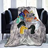 """Lunjuito Dra-gon Wings of Fire Fleece Blanket Throw Microfiber Plush Bedding Soft Knitted Cosy Warm Luxurious Blanket 50""""x40"""" Black"""