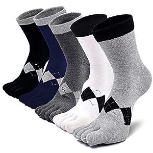 5本指ソックス メンズ 五本指靴下 抗菌防臭 男性 ビジネスソックス 綿 蒸れない 破れにくい 丈夫な靴下 水虫対策 通気性抜群 四季適用 5足セット (5足セット クラシック)