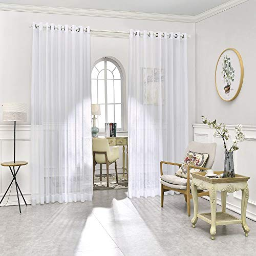 """Warm Home Designs Pair of 2 Extra Large 108"""" (Width) X 100"""" (Length) Wall to Wall Sheer White Room Divider Curtains with 2 Matching Tie-Backs. Total Width is 216 Inches (18 feet). K White 108x100"""
