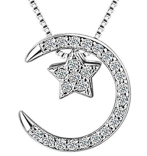 Ketting voor vrouwen - ster - maan - 925 sterling zilver - lichtpunten - glitter - zilver - origineel cadeau-idee strass