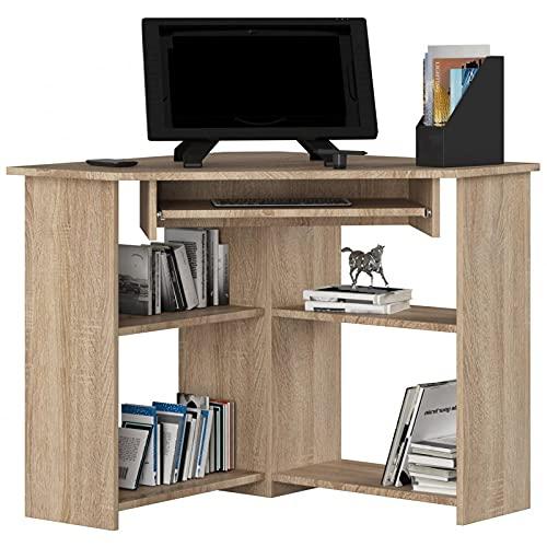 ADGO Escritorio de ordenador esquinero TED 80x74x80 cm para sala de estar dormitorio niños y juveniles estudio y oficina para portátiles y escritorios (roble Sonoma)