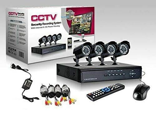 KIT VIDEOSORVEGLIANZA APRICA DVR 4 CANALI CON 4 TELECAMERE LED CAVI MOUSE