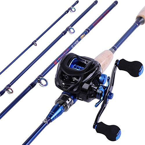 Sougayilang Fishing Baitcasting Combos, Lightweight Carbon Fiber Fishing Pole and 9+1BB Corrosion Resistant Bearings Fishing Reel-Right Hand for Travel 4-Piece-Casting Rod and Right Hand Reel