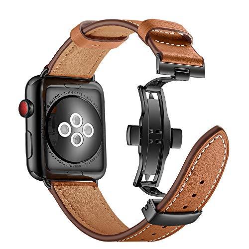 Myada Kompatibel für Apple Watch 6 Armband 44mm Leder,Lederarmband Apple Watch 44mm Series 6 Series 5 Series 4 Armband Apple Watch SE 44mm Leder Armbänder Apple Watch 3 42mm für iWatch 42mm/44mm