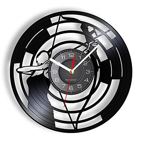 ZFANGY Reloj de Pared con Registro de Vinilo con temática de Tiro con Arco, Reloj de Pared Deportivo Longplay, decoración Vintage iluminada Que Brilla en la Oscuridad sin LED