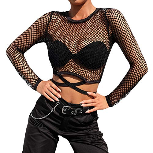 Funst Damen Rundhals Langarm Netzshirt Damen Schwarz Damen Netzoberteil Netz Hose Set Transparent Bluse Crop Top Langarm Top Bauchfrei Sexy Langarmshirt Party Clubwear Outfit