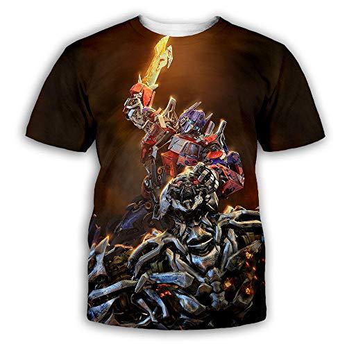 RKWEI Herren T-Shirt 3D Optimus Prime Print Frauen Kurzarm Tops Bluse T-Shirt Persönlichkeit Neuheit Lässig Sommer Quick Dry Jungen und Mädchen