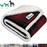 PetAmi Dog Blanket, Plaid Sherpa Dog Blanket | Plush, Reversible, Warm Pet Blanket for Dog Bed, Couch, Sofa, Car (Red, 50x60 Inches)