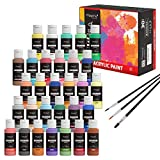 Magicfly 30 Colors Acrylic Paint Set (2fl oz/60ml Each), Non-Toxic Craft Paints with 3 Brushes, for Multi-Surface Paint on Canvas, Paper, Wood, Stone, Ceramic and Model