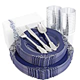 Hioasis 25 Guest Blue Plastic Plates with Silver Rim&Disposable Silver Plastic Silverware-Component by 25Dinner Plates 25Dessert Plates 75Cutlery 25Cups for Weddings&Parties,Holiday Events