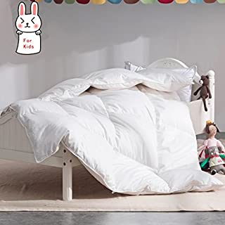 ROSE FEATHER Toddler/Travel/Crib Goose Down Comforter Duvet/Blanket Multifunctional,100% ORGANIC Cotton HYPOALLERGENIC & WASHABLE Unisex kids,ALL SEASON,White 35x44