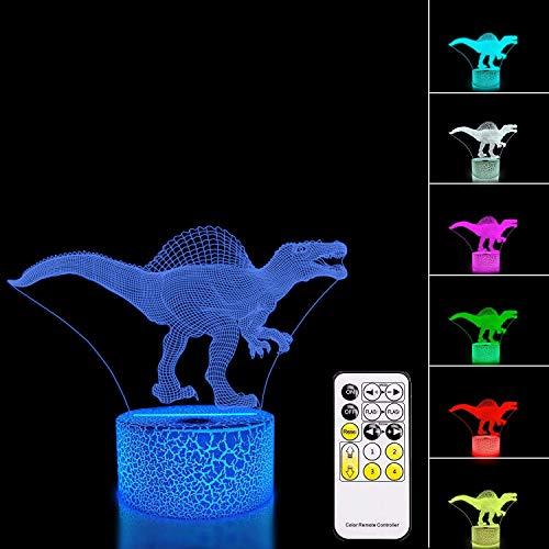 PEDFI Dinosaurus 3D Night Light Lamp Illusion 7 unieke kleuren met afstandsbediening en Smart Touch creatieve ideeën verjaardagscadeau voor jongens meisjes kerstcadeau
