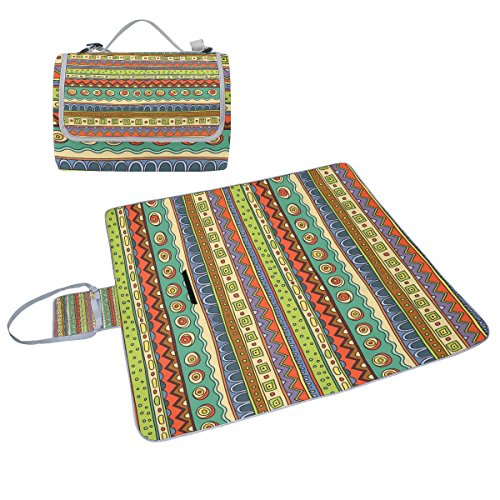 COOSUN Ethno Ornament Picknick Decke Tote Handlich Matte Mehltau resistent und wasserfest Camping Matte für Picknicks, Strände, Wandern, Reisen, Rving und Ausflüge