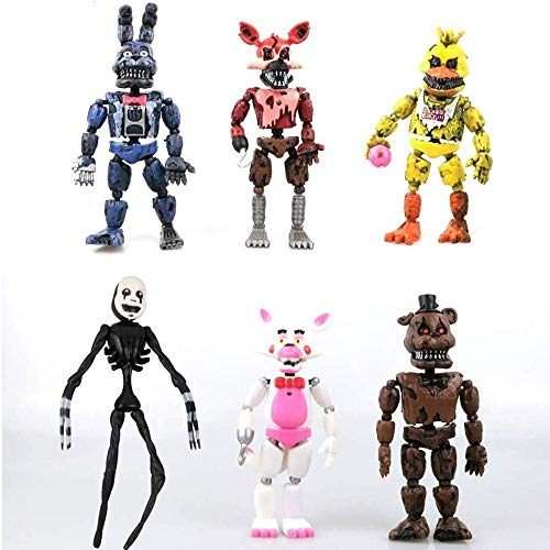 Inspired by Five Nights at Freddys FNAF Figures Set 6 pcs, 5.8 – 6.7 inches