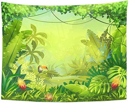 AdoDecor Tapiz Bosque Colorido para Videojuegos en línea Revistas Periódicos Libros Tapices Tropicales Verdes 150x180cm