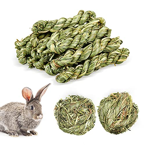 12 Stück Kaninchen Kauspielzeug, Meerschweinchen Spielzeug, Natürlicher Timothy-Gras Kauball, Kleintiere Zahnpflege Timothy Heu Stick Snacks für Häschen Chinchilla Hamster Meerschweinchen Rennmäuse