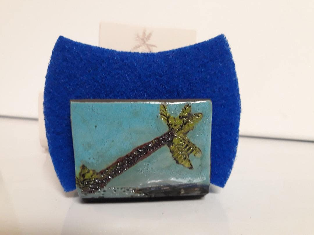 Raku Ranking integrated 1st place Pottery Sponge Holder double sided Aqua Hand Our shop most popular blue Thrown