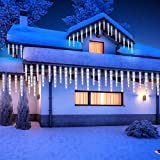 Slashome LED Icicle Lights 10 Tubes 110 Twinkling LED Ice Crystal Icicle Set Outdoor Christmas Decorations Lights, Waterproof Cascading Lights for Christmas, Holiday Decorations, Yard, Garden(White)