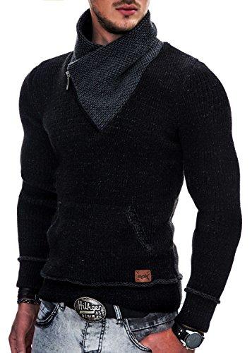 Indicode Uomo Dane Pullover Invernale A Maglia Grezza con Colletto Sciallato | Caldo Moderno Marchio Hoddie Maglione Comodo in per Uomo Nero L