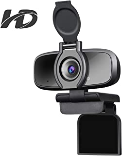 Dericam Cámara web USB HD 1080P para videollamadasjuegos y transmisión en vivo con micrófono con cancelación de ruido y obturador de privacidad y W2 Pro Negro