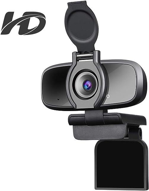 Dericam Cámara web USB HD 1080P para videollamadasjuegos y transmisión en vivo con micrófono con cancelación de ruido y obturador de privacidad