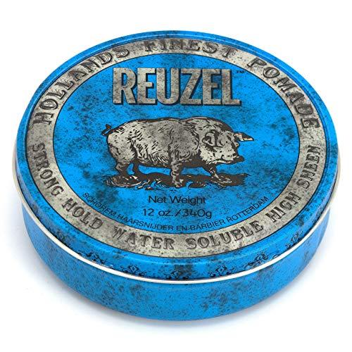 Reuzel - Blue Strong Hold Water Soluble Pomade - Aceites naturales - Vainilla calmante - Alto brillo - Fórmula superconcentrada - Mantiene la flexibilidad sin endurecerse ni desprenderse - 12 oz/340 g