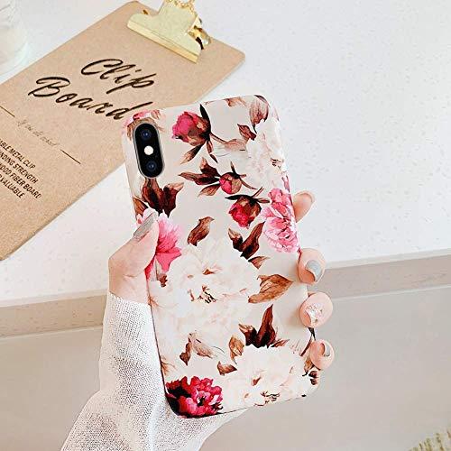 Uposao Fleur Feuilles Coque pour iPhone XR Matte Coque en Silicone TPU Cover,iPhone XR Jolie Fleur Housse Téléphone Etui Ultra Mince Souple Gel Bumper Case pour iPhone XR,F