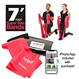 SUPER EXERCISE BAND XXX Heavy Red 7 ft. Long Resistance Band. Latex Free Home Gym Fitness Kit For Strength Training, Physical Therapy, Yoga, Pilates or Chair Workouts. Plus Carry Pouch & E-Book