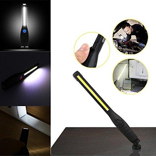 Lampe De Travail Lampe D'inspection Torche USB Rechargeable Lampe Inspection COB Torche Lampe De Poche avec Base D'Aimant Et Crochet à Suspendre pour Bricolage, Maison, Inspection De Voiture, Travail