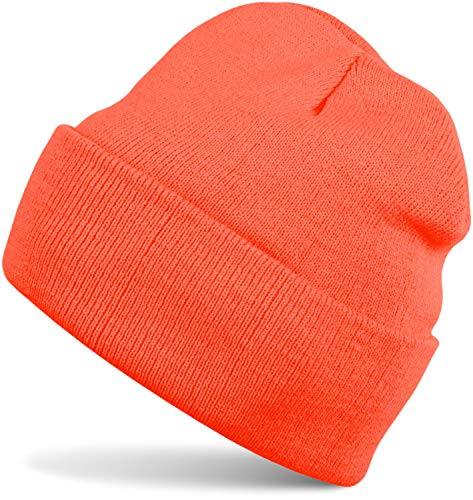 styleBREAKER Gorro Beanie clásico de Punto, Punto Fino Doble y cálido, Unisex 04024029, Color:Naranja neón