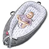 EIH Baby Nest,Baby Lounger Co-Sleeping Baby Bassinet for Bed Newborn Lounger 100% Soft Cotton Breathable and Portable Crib with Pillow Perfect for Traveling and Napping (Arrow)