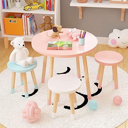 ZH Holztisch und Hocker für Kinder, 60 cm runder Normallack Tischplatte, Nordic Simple Kleiner Beistelltisch, weiß, blau, pink
