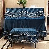 phbwz fodera per pianoforte completa + fodere per sgabelli pleuche decorato con macramè per verticale verticale universale(size:155x39x120cm+38x78cm,color:blu)