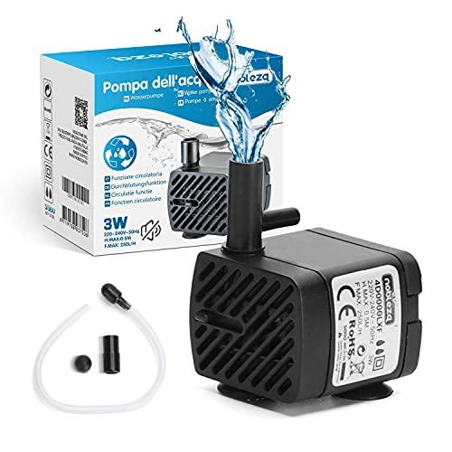 Nobleza- Bomba Sumergible (3W 250L/H) Bomba de Repuesto para Fuentes para Mascotas, acuarios, peceras, estanques, con Accesorios