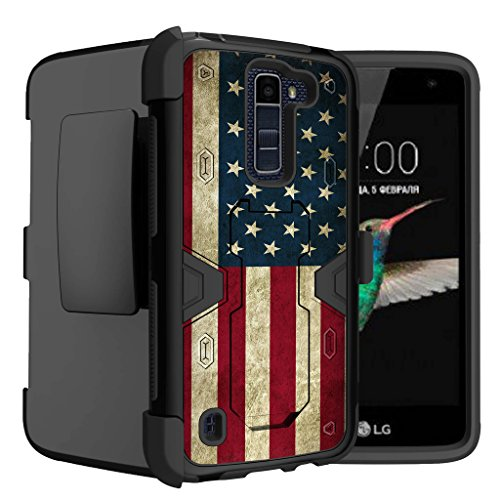 Untouchble Case for LG K7| LG Tribute 5 Case | LG Treasure 4G LTE Case [Mystic Defense] Shockproof Bump Protection Dual [Kickstand] Case | Heavy Duty Swivel Holster - Vintage American Flag