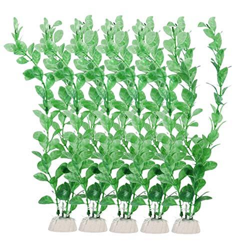 Xkfgcm 5 Stück Künstliche Aquarium Deko Pflanzen Aquarium Wasserpflanzen Künstlich Pflanzen Kunststoffpflanzen Fischtank Grün Plastik Künstliche Pflanzen Aquarium Wasser Pflanzen Dekorationen