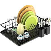 Dish Drying Rack, F-color Dish Rack with Water Tray, Utensil Holder, Anti Rust Dish Drainer for Kitchen Counter Top Dish Rack Wire Holder, Black, 16.5 x 12.4 x 4.3 inch
