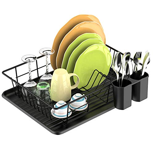 Dish Drying Rack, F-color Dish Rack with Water Tray, Utensil Holder, Anti Rust Dish Drainer for Kitchen Counter Top Dish Rack Wire Holder, 16.4 x 12 x 4.3 inch, Black
