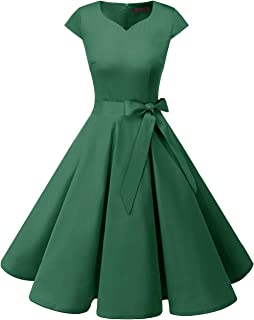DRESSTELLS Women's Vintage Tea Dress Prom Swing Cocktail Party Dress with Cap-Sleeves