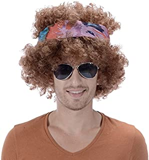 Brown Afro Hippy Men Wig-Synthetic Mens 60s 70s Chick Costume Halloween Party Woodstock Festival