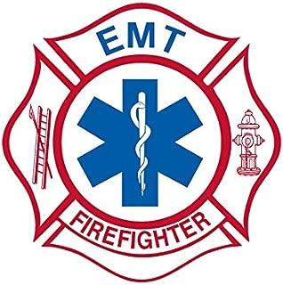 White Maltese Shaped EMT Firefighter Sticker (Medical fire Emergency)
