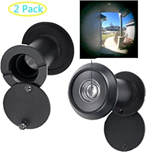 "Safety Door Viewer, 220-degree Door Viewer/Peephole with Heavy Duty Rotating Privacy Cover for 1-3/8"" to 2-1/6"" Doors, Durable Door Viewer for Home Office Hotel (2 Pcs Black)"