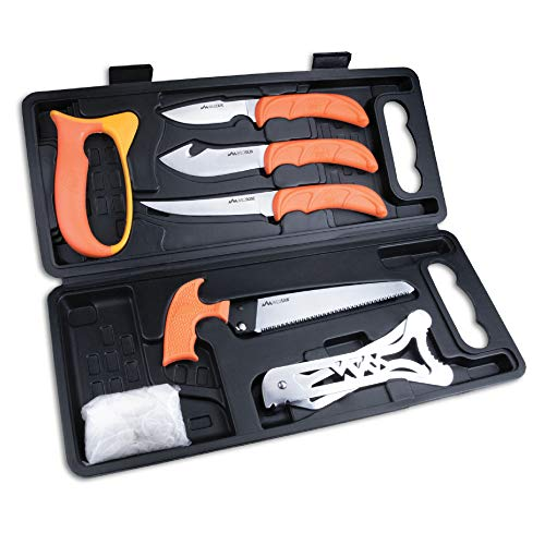 Outdoor edge wild pak complete 8-piece hunting knife kit for field dressing game, compact lightweight case, blaze-orange high visibility non-slip handles, full tang razor-sharp stainless blades
