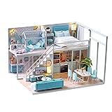 waterfaill DIY Maison De Poupée, Maison De Miniature Mansardée avec Mouvement De La Musique, Maison De Poupée Miniature avec Mobilier (avec Housse De Protection)