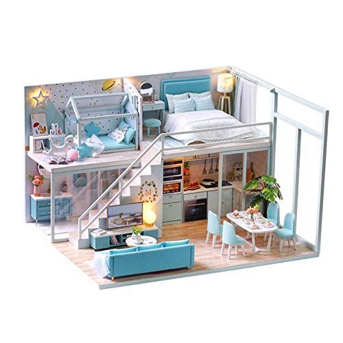 Hearthrousy DIY Puppenhaus Miniatur Haus Selber Bauen Zum Basteln Zubehör 3D Holz Lernspielzeug Spielzeug mit LED Licht und Musik Bewegung Geschenk für Weihnachten Geburtstag (Ohne Staubschutz)