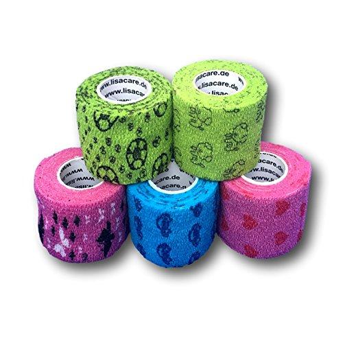 LisaCare Fixierbinde 5cmx4,5m - 5er-Set Bunt Mit Motiven | Kohäsive Bandage | Wundverband | Pflasterverband | Kinderpflaster | Elastisches Verbandsmaterial