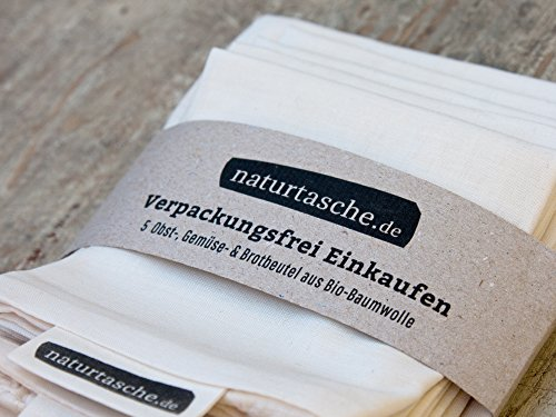naturtasche 5er-Set, Obst- und Gemüsebeutel, Brotbeutel, Wiederverwendbar, Bio-Baumwolle, Fair genäht in Böhmen