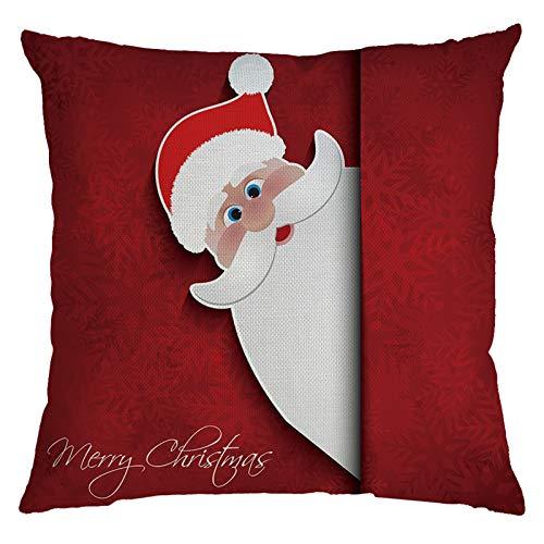 Funda de almohada de lino BBQQ, para decoración de Navidad, decoración de Navidad, decoración de árboles, decoración de faldas, luces de pijamas para la familia