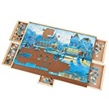 Sfozstra 1000 Pieces Upgraded Wooden Puzzle Table, Jigsaw Puzzle Table, Puzzle Plateau-Smooth Fiberboard Work Surface, with Five Drawers, Puzzle Accessories for 1000 Pcs